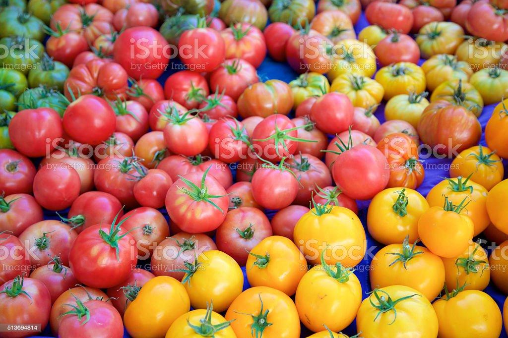tomatoes at the farmer's market stock photo