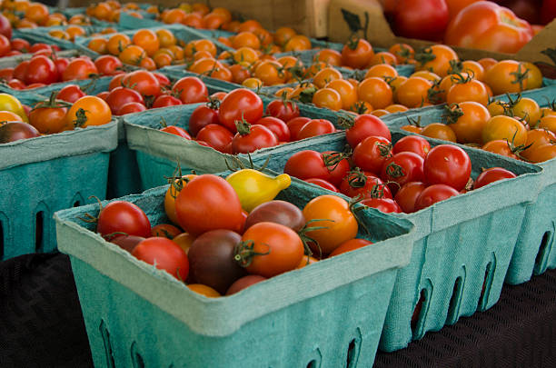 Tomatoes at the Farmers Market stock photo
