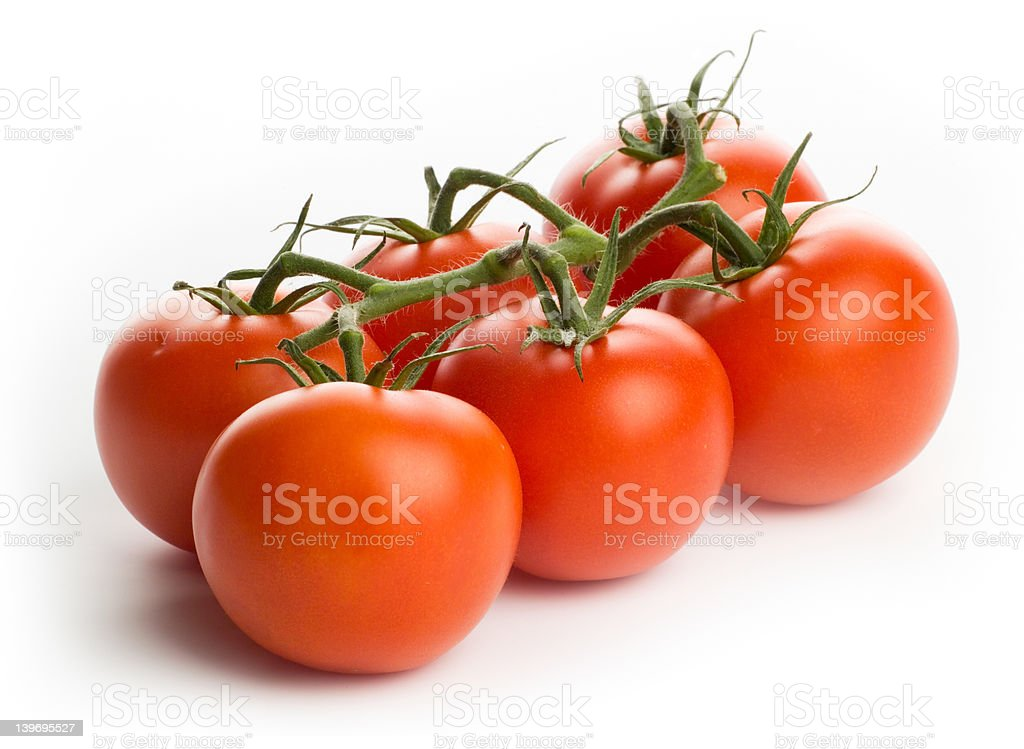 Tomatoes - bunch of six, isolated royalty-free stock photo