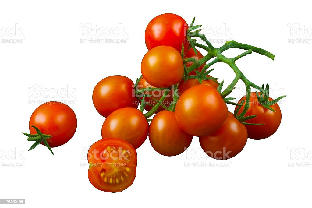 Tomatoes Cherry on branch on white background stock photo