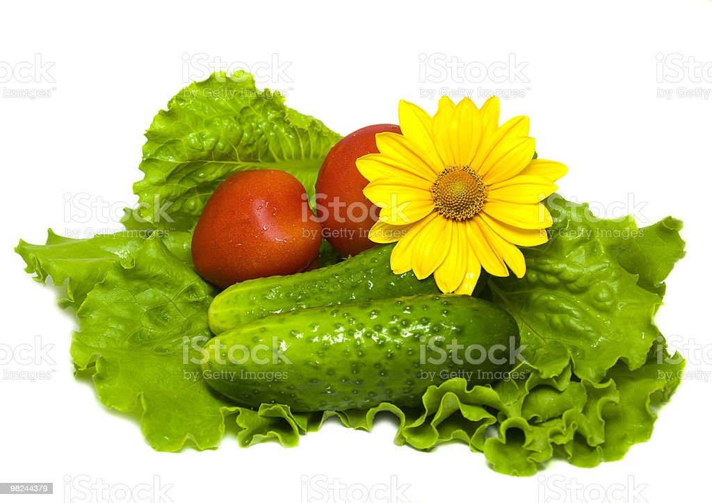 Tomatoes, cucumbers and salad royalty-free stock photo