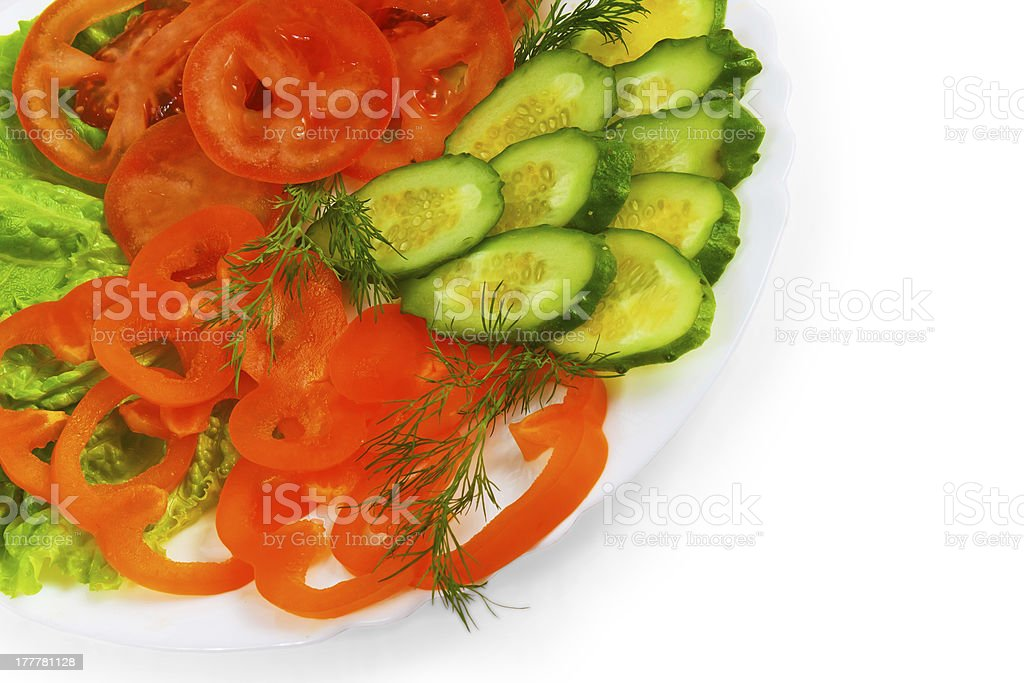 tomatoes cucumbers sliced salad plate isolated white background royalty-free stock photo