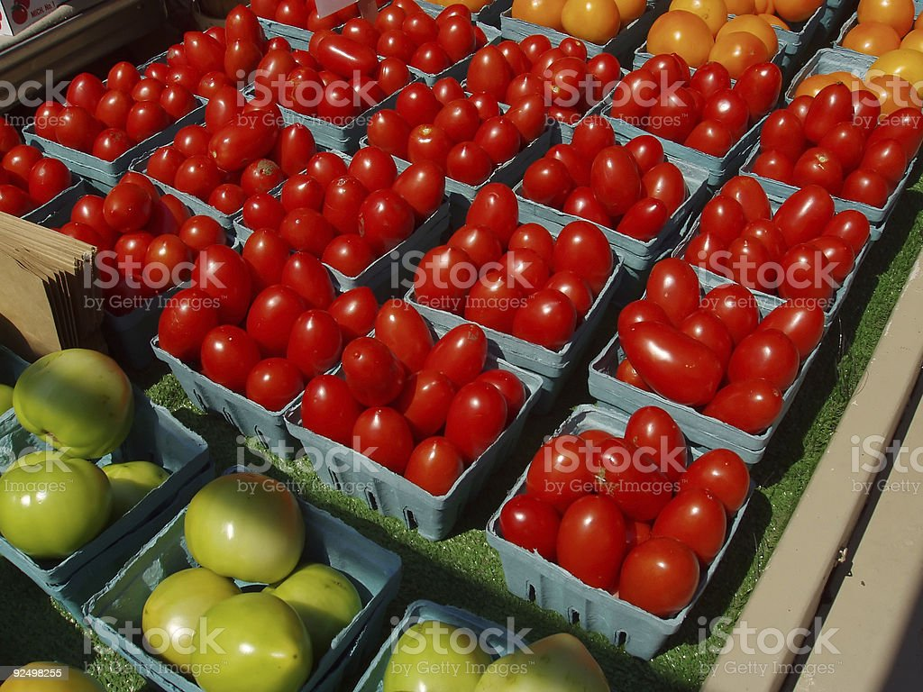 Tomatoes for sale at the farmers market stock photo