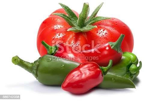 Heirloom tomato, red and green habanero peppers, chil. Ingredients for hot sauce, ketchup, tabasco. Clipping paths, shadow separated