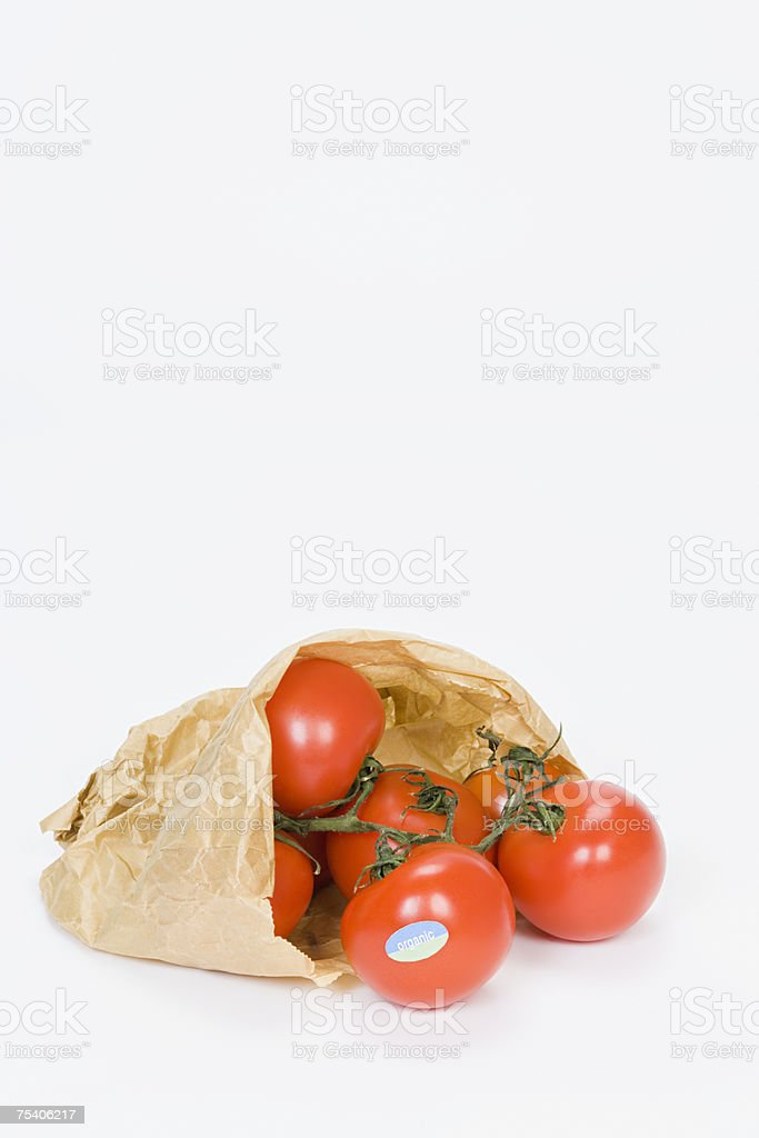 Tomatoes in a paper bag foto de stock royalty-free