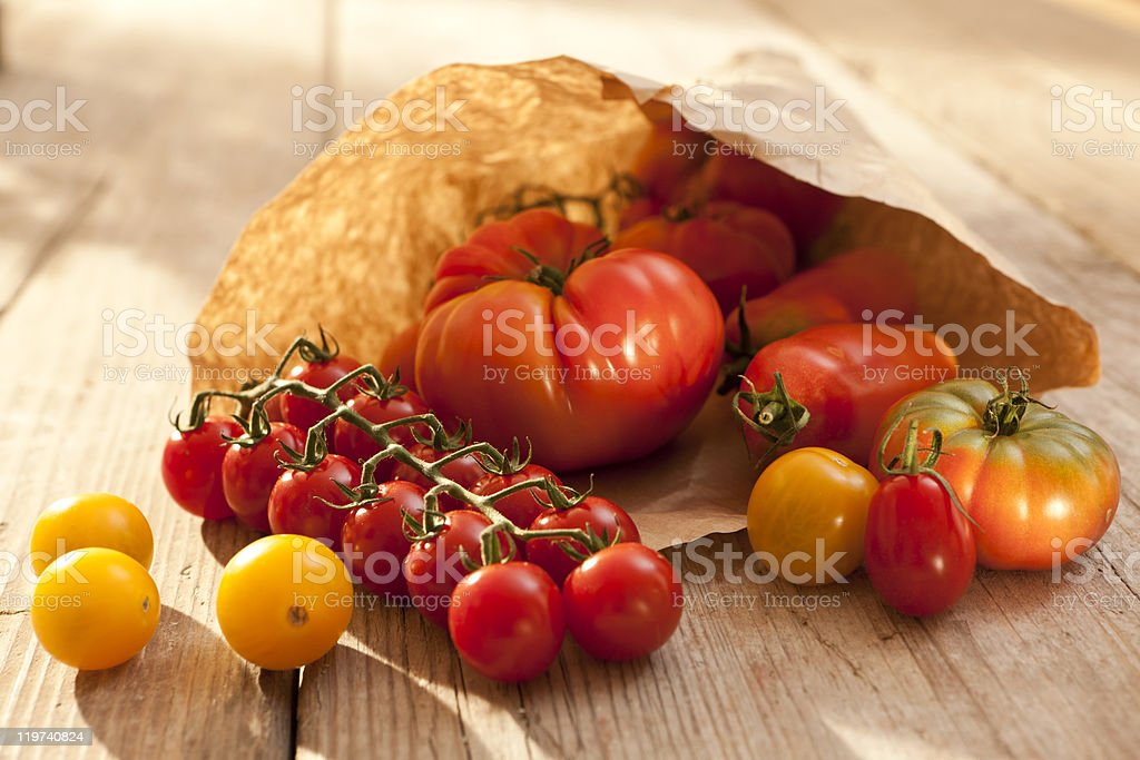 Tomatoes in a paperbag royalty-free stock photo