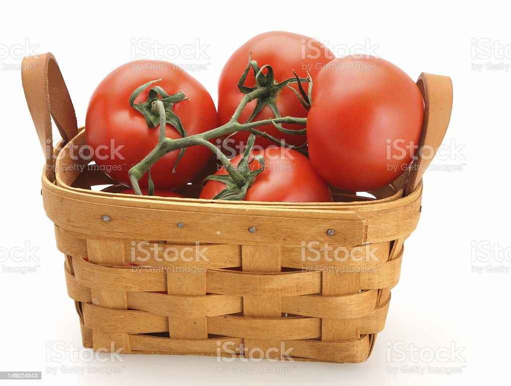 Tomatoes in Basket stock photo