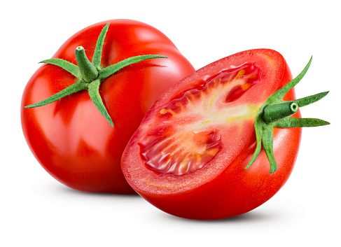 Tomatoes isolate on white background. Tomato half isolated. Tomatoes side view. Whole, cut, slice tomatoes. Clipping path.