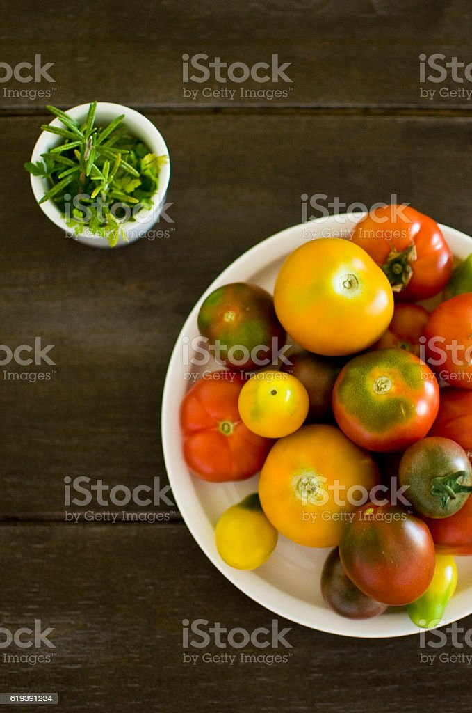 Tomatoes on a plate stock photo