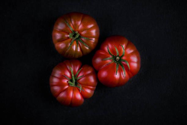 """tomaten auf schwarzem stein mit textfreiraum. frische reifere bio-tomaten auf dunkle tischplatte anzeigen """"n - kochkunst stock-fotos und bilder"""