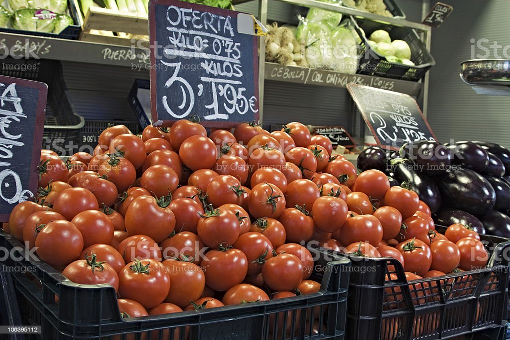 Tomatoes on display. royalty-free stock photo