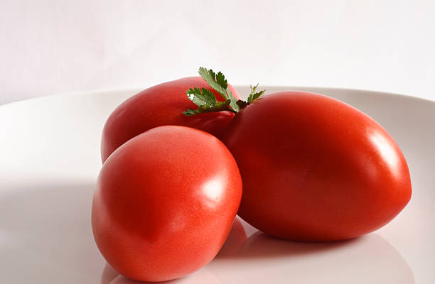 Tomatoes on White Plate stock photo