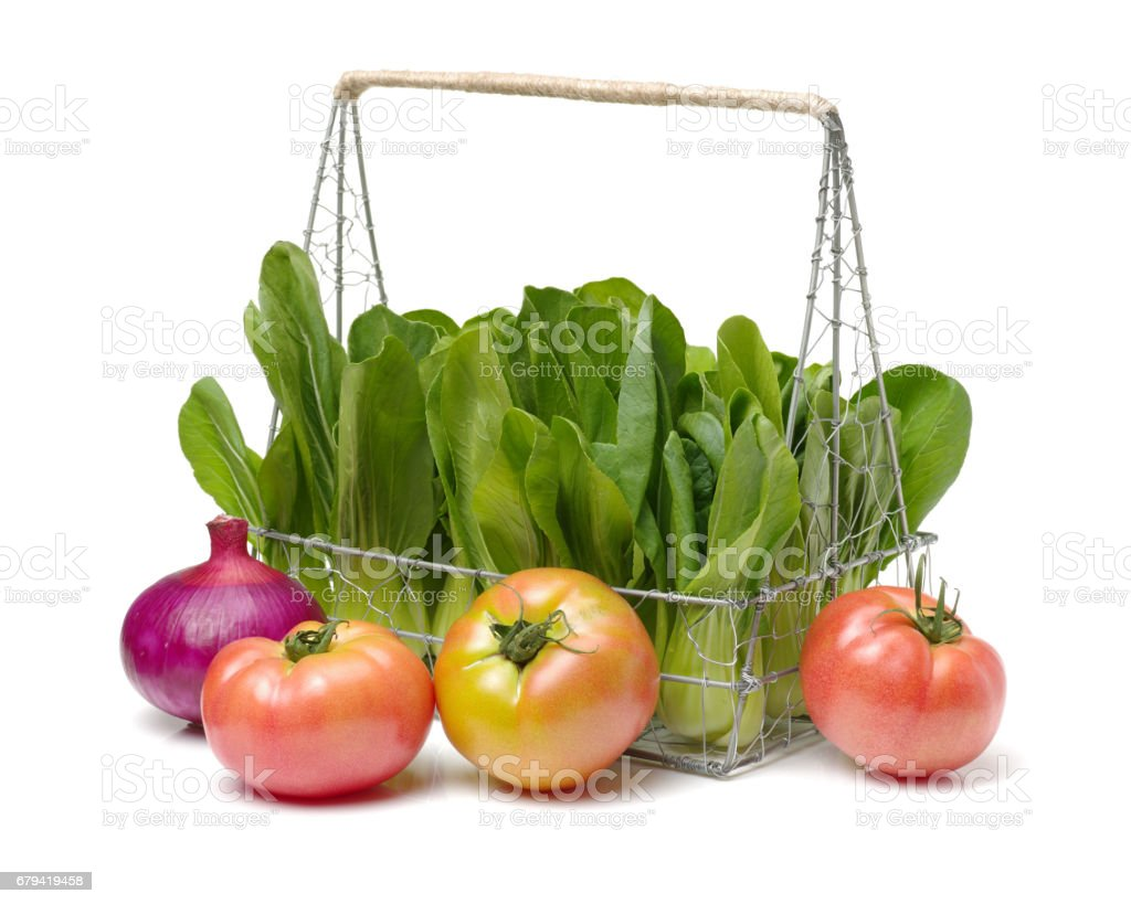 Tomatoes Rape, Chinese Cabbage isolated on white background stock photo