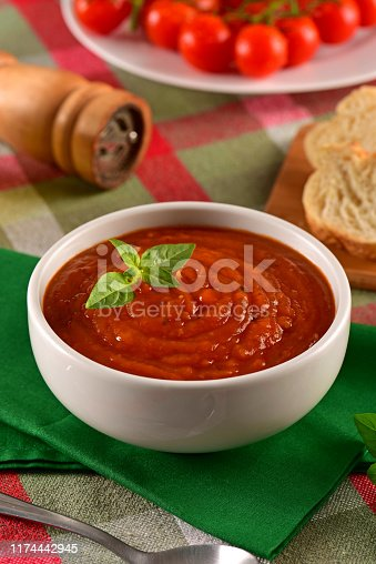 Italian tomatoes sauce on decorated scene