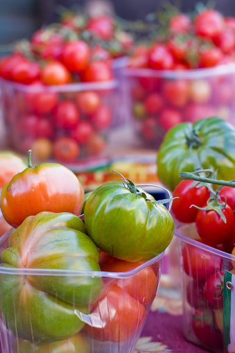 Tomatoes Varieties In The Steet Farmers Market Stock Photo - Download Image Now