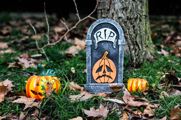 grab und in den wäldern am halloween kürbisse - halloween grabsteine stock-fotos und bilder
