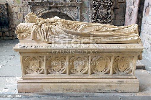 Jedburgh, Scotland - May 18 2018: Tomb Earls of Lothian at Jedburgh Abbey in Scottish borders