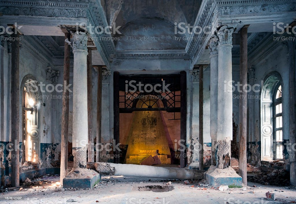 Tomb in abandoned old church royalty-free stock photo