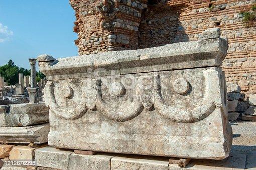 Ancient stones and columns in Ephesus Ancient City