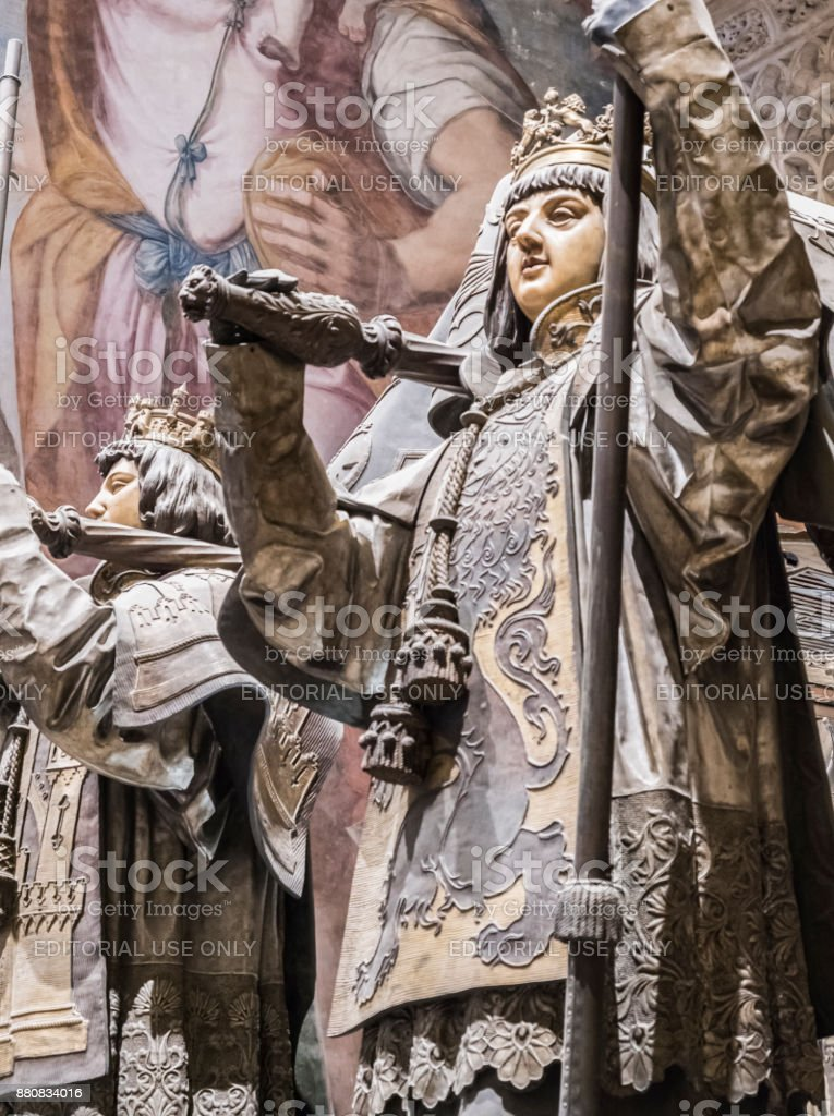 Tomb of Cristobal Colon of the Cathedral of Seville, Located in front of the door of the princes or San Cristobal, Andalusia, Spain stock photo