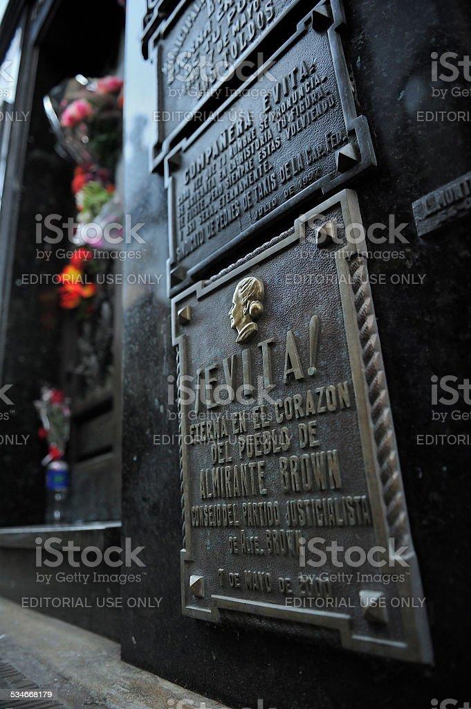 Tomb of Evita, Recoleta Cemetery, Buenos Aires, Argentina stock photo