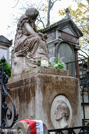 Paris, Frnace -September 12, 2014: Tomb of Frederic Chopin, famous Polish composer, at Pere Lachaise cemetery in Paris, France