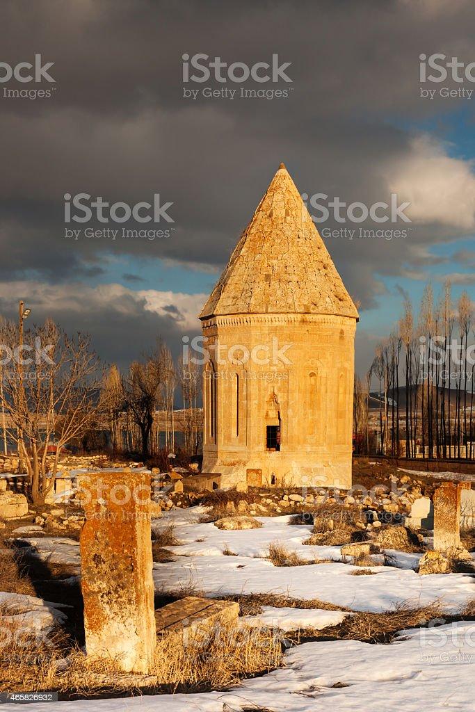 Tomb of Halime Hatun on the shore of Lake Van stock photo