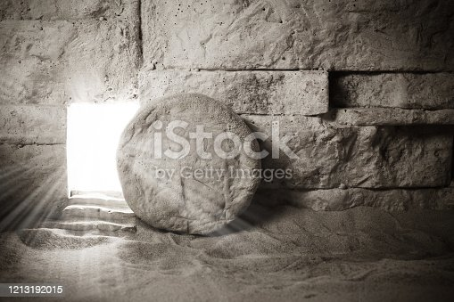 Tomb of Jesus. Jesus Christ Resurrection. Easter background. Christian easter concept.