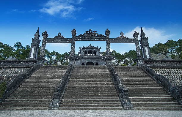 Tomb of Khai Dinh, Hue, Vietnam. UNESCO World Heritage Site. In 1916, Khai Dinh became the Emperor of Vietnam. The Tomb of Khai Dinh was built for the Emperor Khai Dinh. It was built from 1920 to 193. It is located on a steep hill. khai dinh tomb stock pictures, royalty-free photos & images