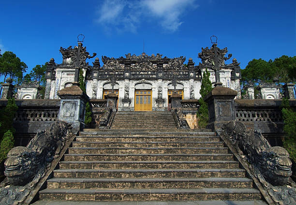 Tomb of Khai Dinh, Hue, Vietnam. UNESCO World Heritage Site. In 1916, Khai Dinh became the Emperor of Vietnam. The Tomb of Khai Dinh was built from 1920 to 193. It is located on a steep hill. khai dinh tomb stock pictures, royalty-free photos & images