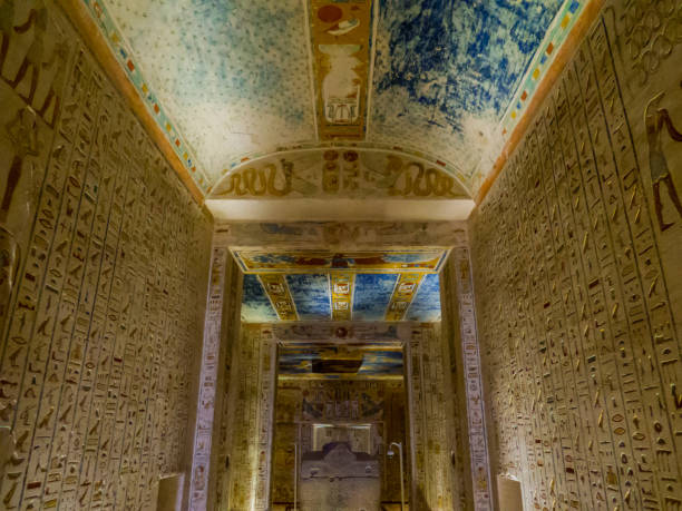 Tomb of King Ramses IV, Valley of the Kings, Luxor, Egypt View of the Sarcophagus of the Tomb of King Ramses IV in the Valley of the Kings. valley of the kings stock pictures, royalty-free photos & images
