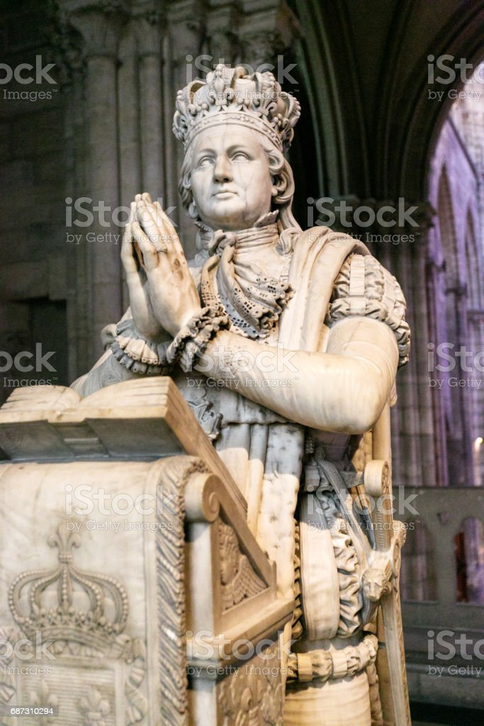Tomb of Louis VI and Marie Antoinette, Cathedral of Saint-Denis, France stock photo