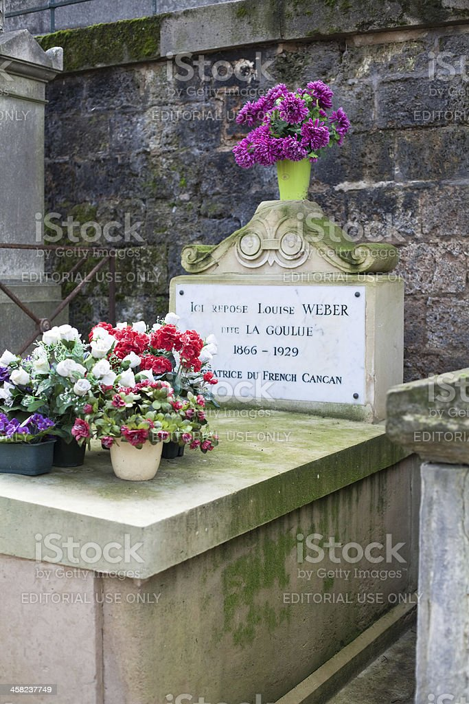 tomb of Louise Weber ' La Goulue ' at Montmartre royalty-free stock photo