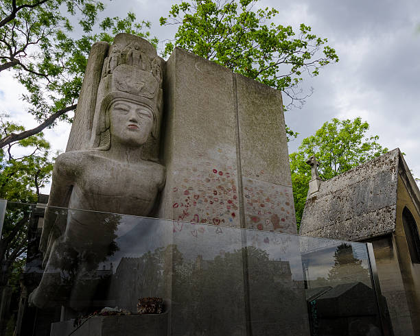 Tomb of Oscar Wilde in Pere Lachaise Cemetery stock photo