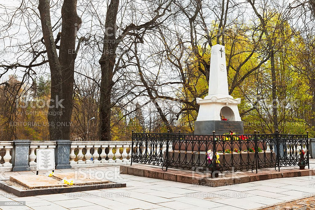 Tomb of Russian poet Pushkin in the Holy Dormition Monaster stock photo
