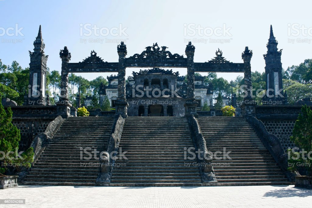 Tomb of the Emperor Khai Dinh in Hue stock photo