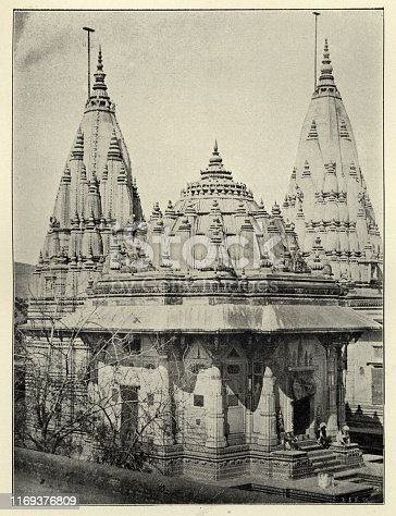 Vintage photograph of the Tomb of the Kings of Gwalior, Madhya Pradesh, India, 19th Century
