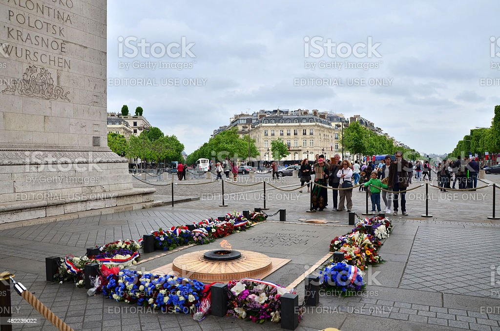 Tomb of the Unknown Soldier beneath the Arc de Triomphe, stock photo