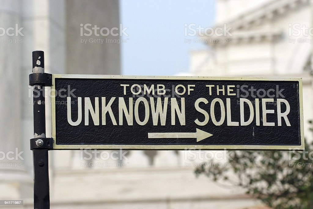 Tomb of the unknown soldier sign royalty-free stock photo