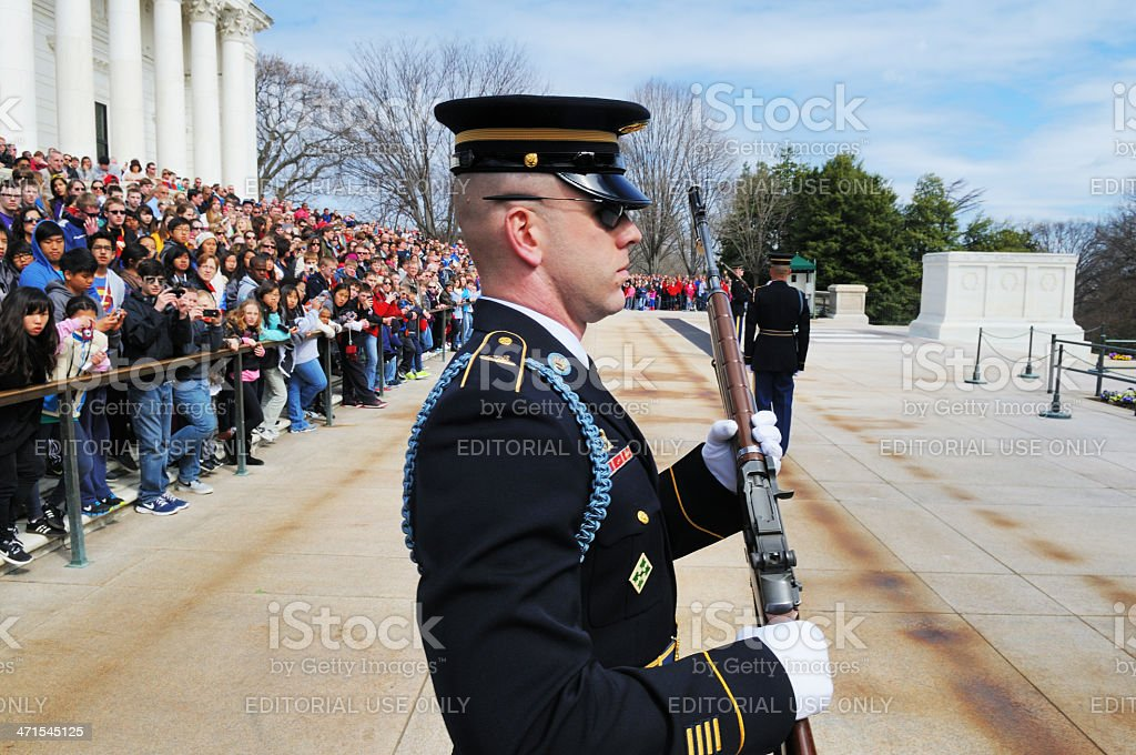 Tomb of the Unknowns Guard Ceremony Arlington National Cemetery royalty-free stock photo