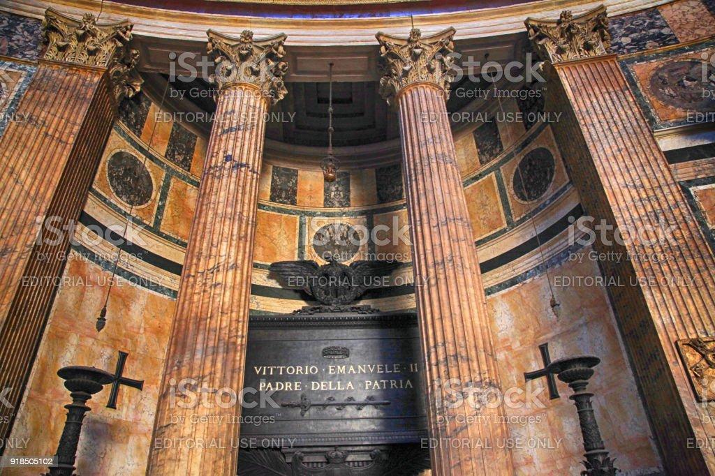Tomb of Vittorio Emanuele II in the Pantheon, Rome, Italy. stock photo