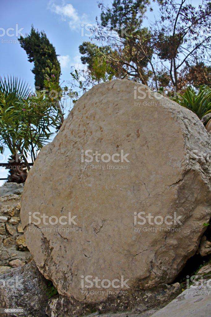 Tomb stone in garden tomb stock photo