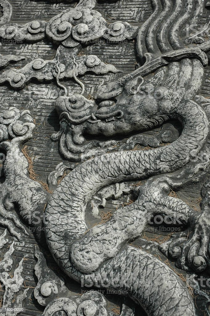 Tomb Stone With Chinese Dragon royalty-free stock photo