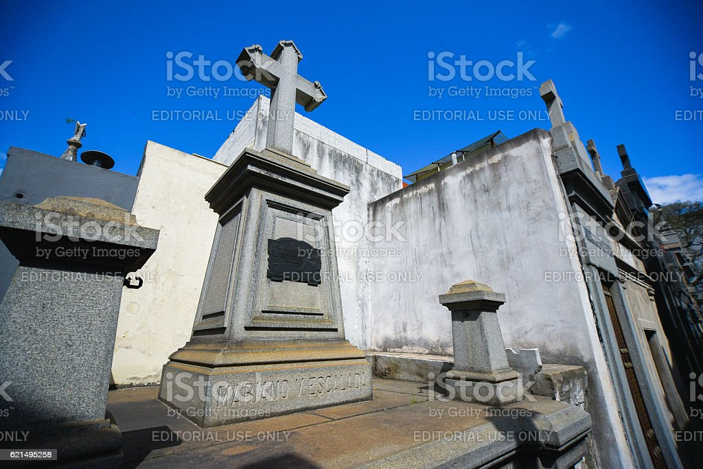 Tomb with a cross at the La Recoleta Cemetery foto stock royalty-free