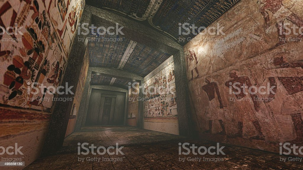 Tomb with old wallpaintings in ancient Egypt stock photo