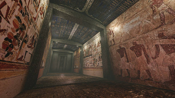 Tomb with old wallpaintings in ancient Egypt A 3D rendered image of a tomb in ancient Egypt. A long marble corridor with old wall paintings, hieroglyphs and symbols on the wall. tomb stock pictures, royalty-free photos & images