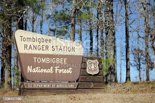 Ackerman, Mississippi, USA - February 8, 2020: Close up of Tombigbee Ranger Station Tombigbee National Forest sign located along Mississippi Highway 15 near Ackerman, Mississippi.