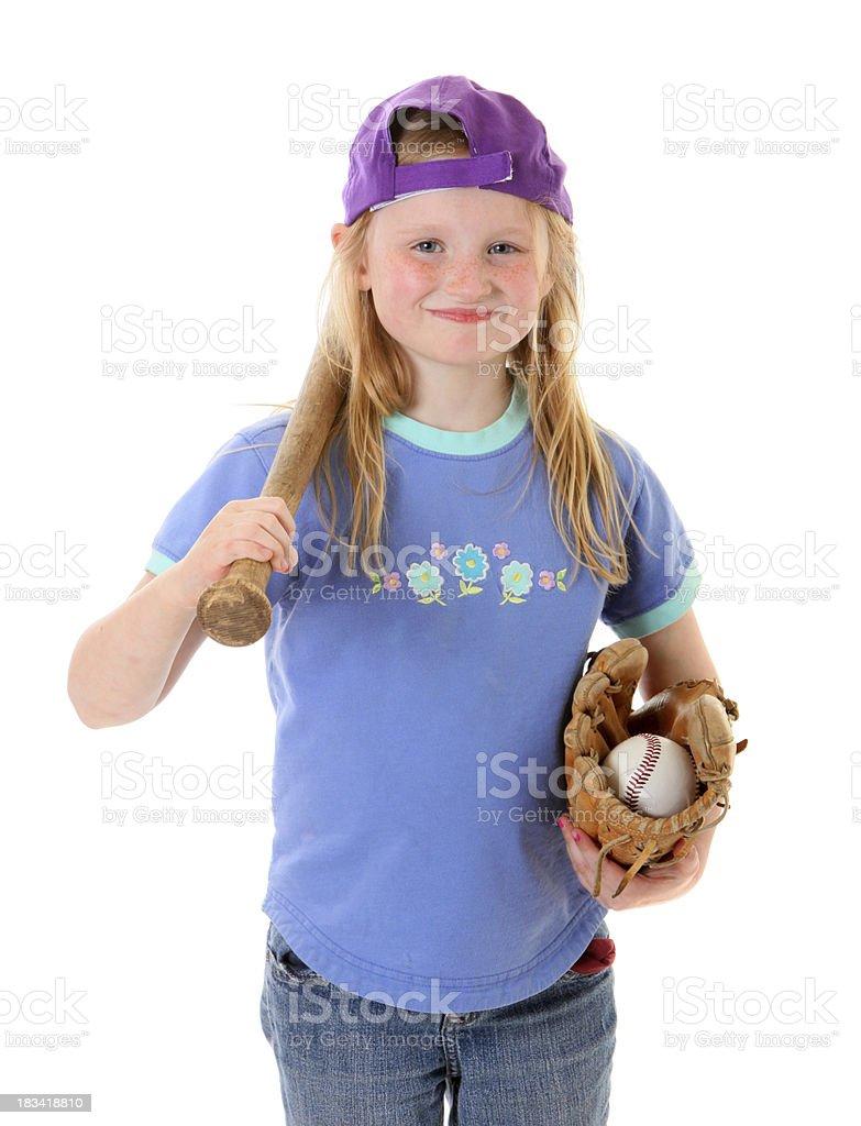 tomboy girl with baseball stuff stock photo