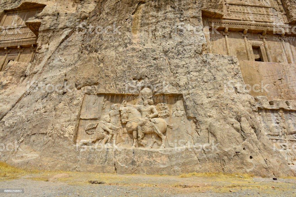 Tombs Achaemenid kings in Naqsh-e Rustam, Persepolis ruin Iran stock photo