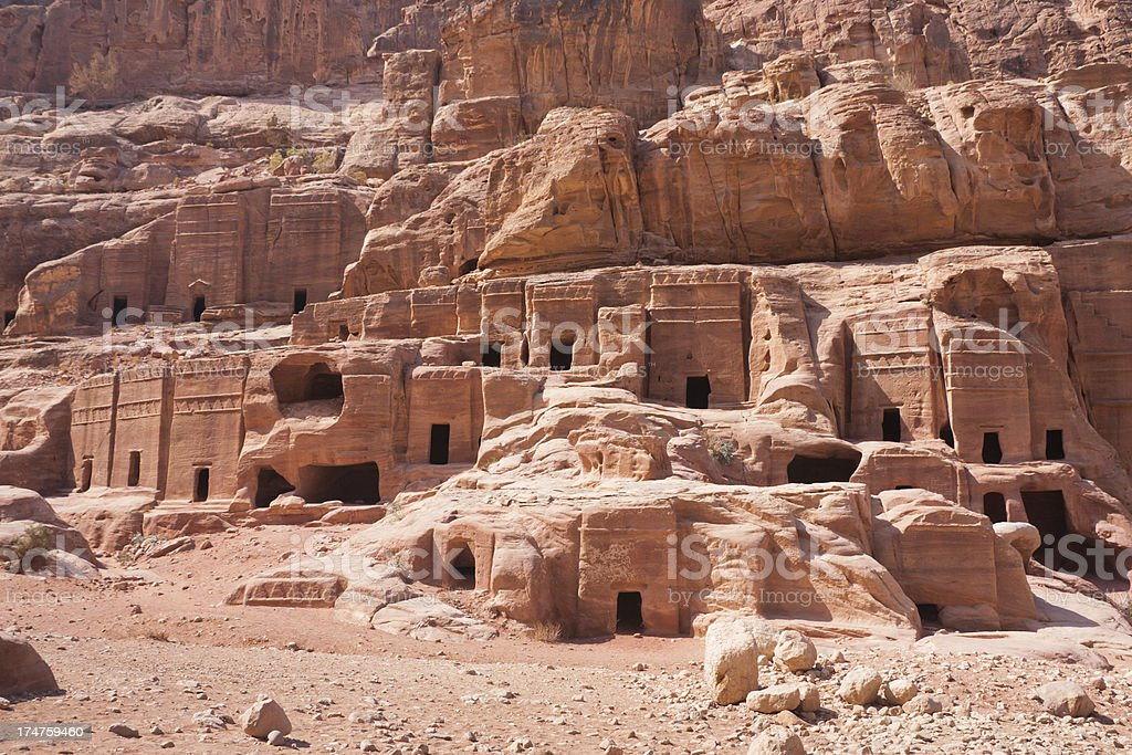 Tombs at Petra in Jordan royalty-free stock photo